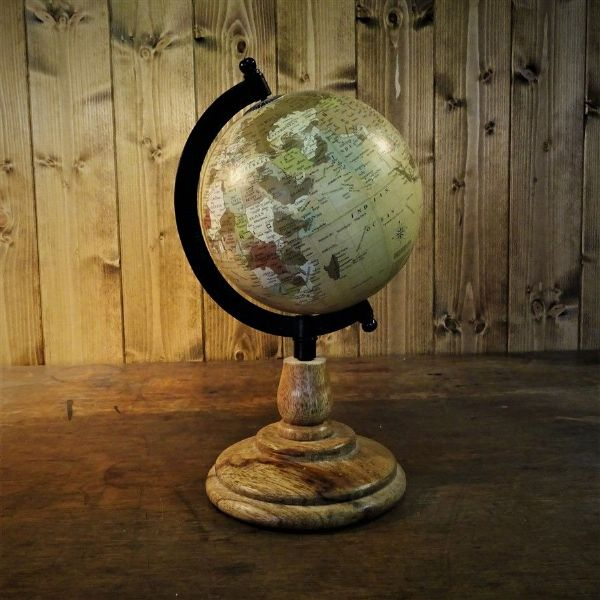 Desk Globe on Wooden Stand